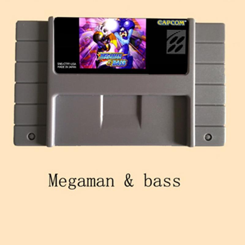 Megaman & Bass-tarjeta de juego grande para NTSC, 16 bits, color gris,...