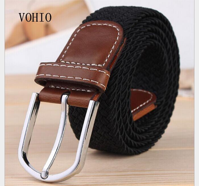 2017 men's belt The female pin buckle elastic belt Canvas woven belts Black, brown Elastic allergy belt leisure joker free shipp