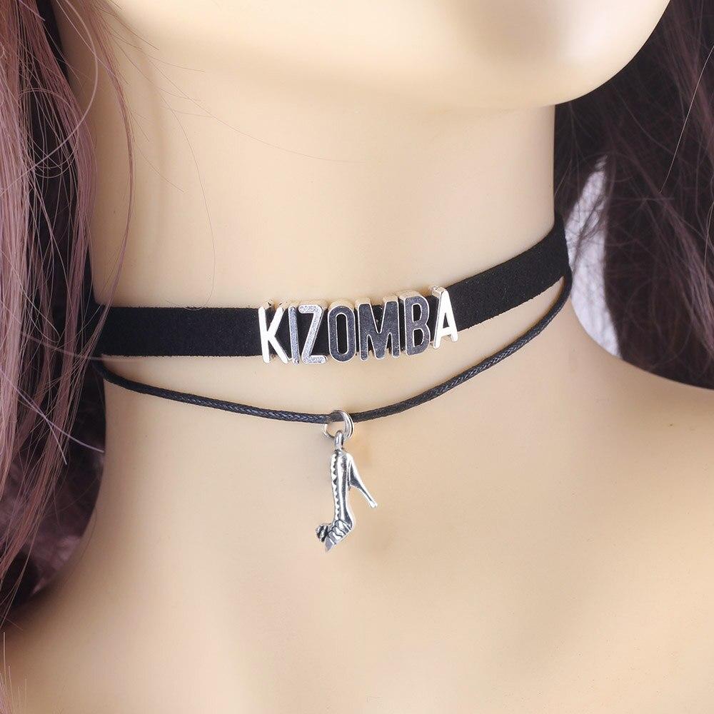 Danse gothique KIZOMBA BACHATA SALSA ZOUK danseur collier ras du cou chaussures pendentif à breloque velours fait main collier bijoux pour les femmes