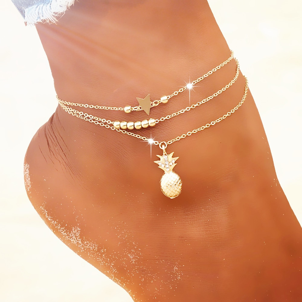 Summer Fashion Crystal Pineapple Anklets Female Barefoot Crochet Sandals Foot Jewelry Bead Ankle Bra