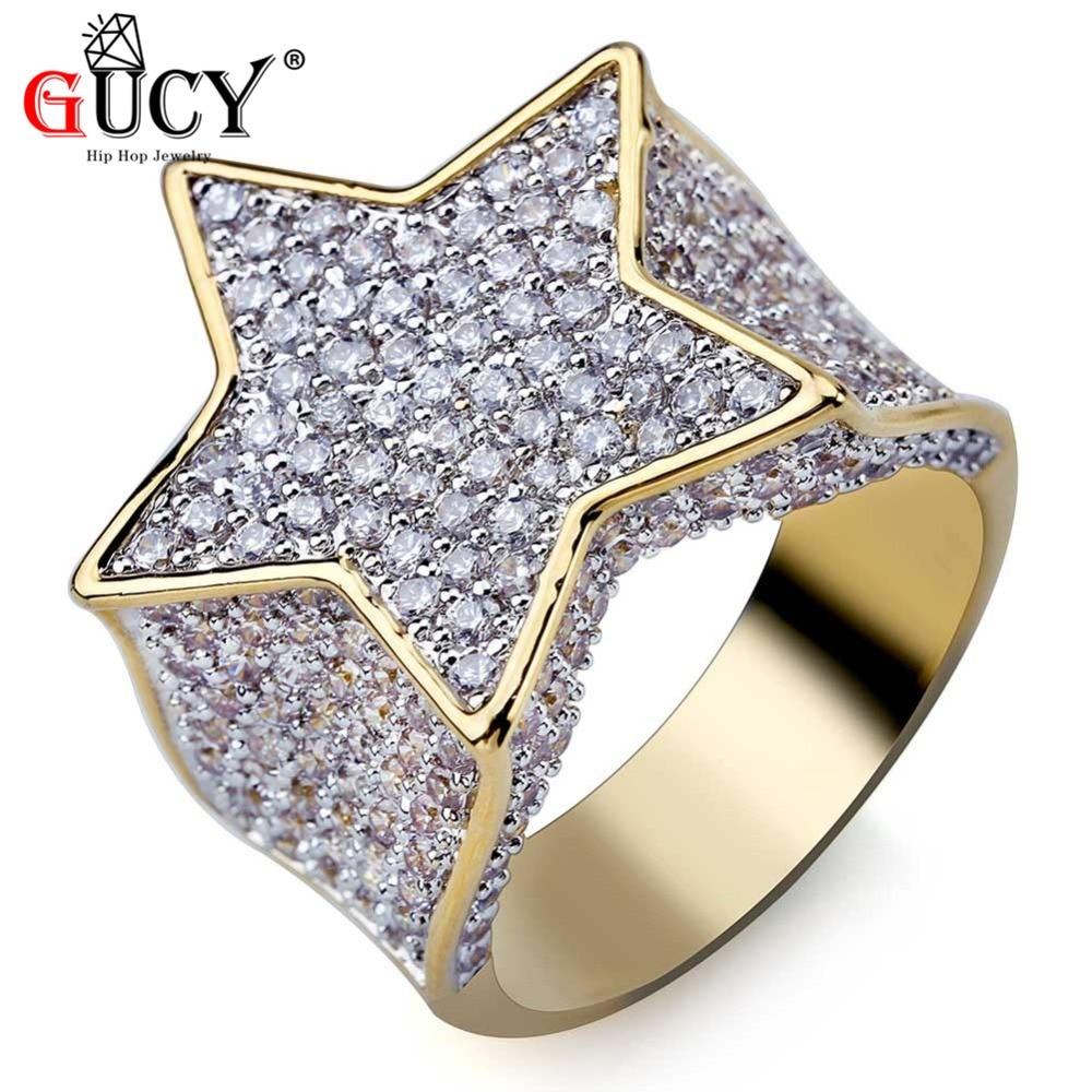 GUCY Hip Hop Color dorado plateado estrella anillo todo helado Micro pavé pedrería CZ anillos encanto para hombres mujeres Bling regalo de joyas de fiesta