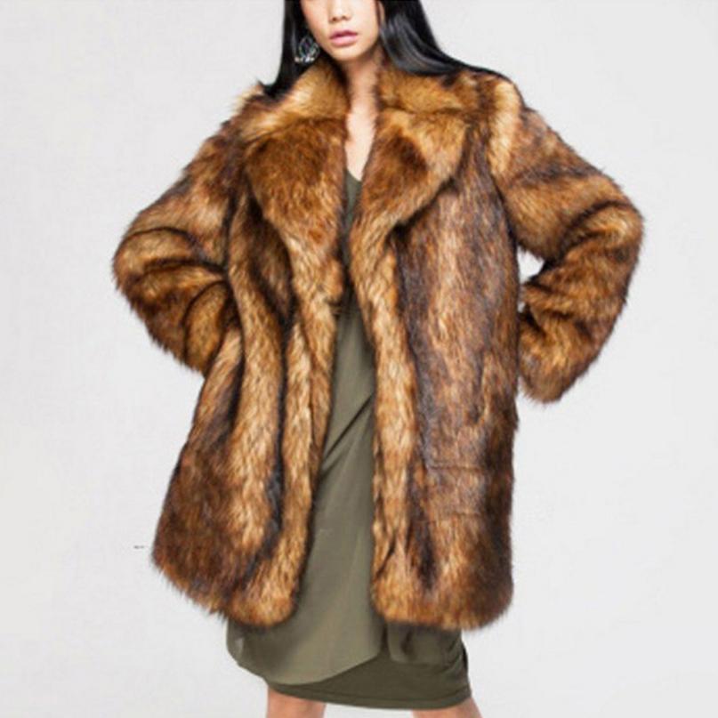 Abrigo largo de piel de zorro sintética de S-6XL para mujer, chaqueta gruesa de gran tamaño marrón, chaqueta de cuello vuelto para mujer, chaqueta de pelo falso de invierno L1312, envío gratuito