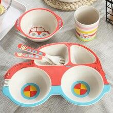 5 pièces/ensembles bébé plat vaisselle ensemble naturel bambou Fiber bol avec tasse cuillère assiette fourchette alimentation plats pour enfants ustensiles