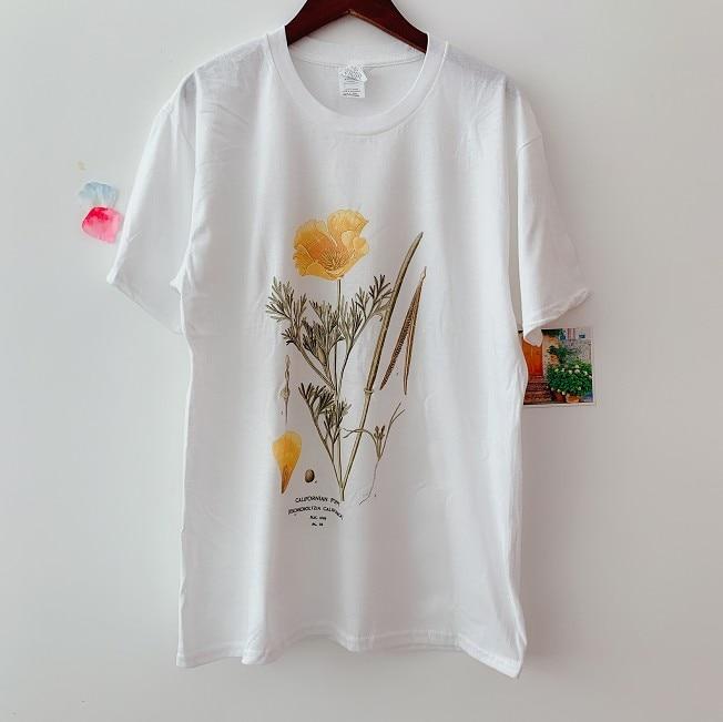 Sunfiz YF, Camiseta con estampado de amapola de California, flor de Australia, camiseta de jardín con ilustración botánica
