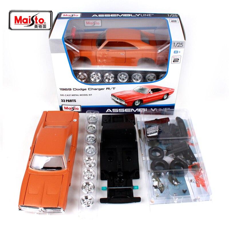 Maisto 124 1969 DODGE Charger R/T montaje DIY modelo Diecast coche de juguete nuevo en caja envío gratis 39256