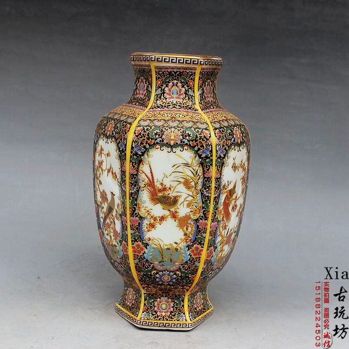 Neue regale antique Emaille Gold Blume Vase vase hochwertigen aristokratischen königlichen stil dekoration