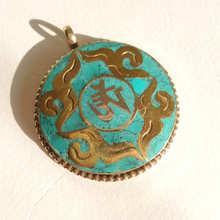 TBP153 pendentif amulette tibétain OM pierre incrustée de cuivre en métal blanc