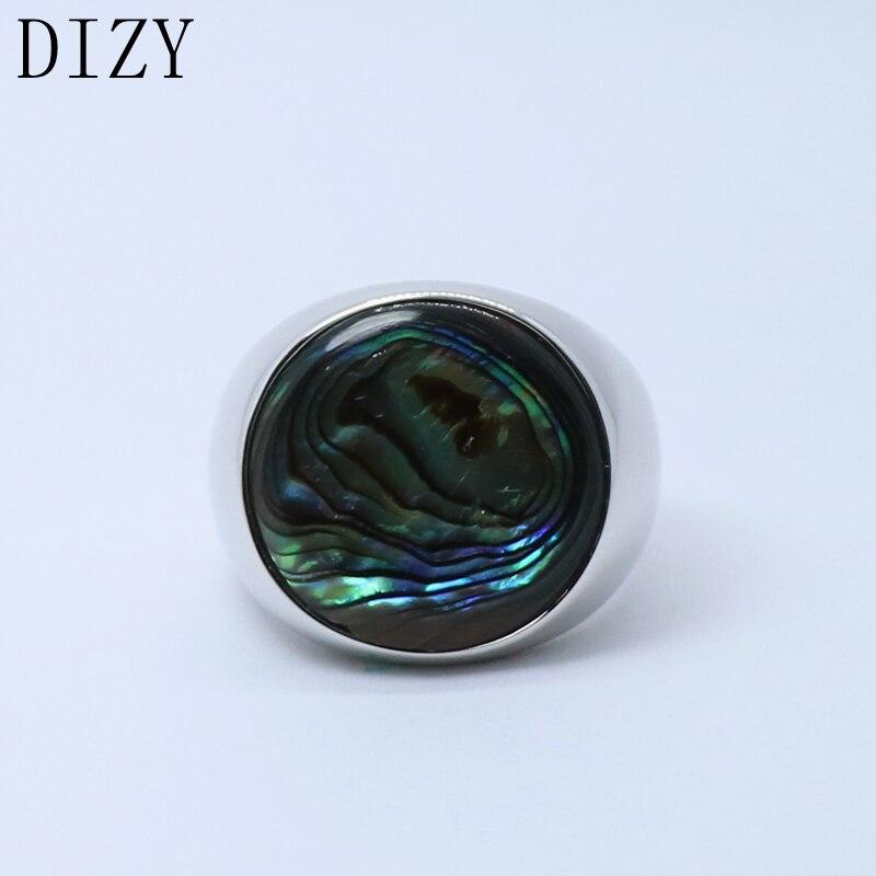 Dizy sólido 925 prata esterlina natural redondo abalone escudo anel para festa de casamento presente jóias de noivado