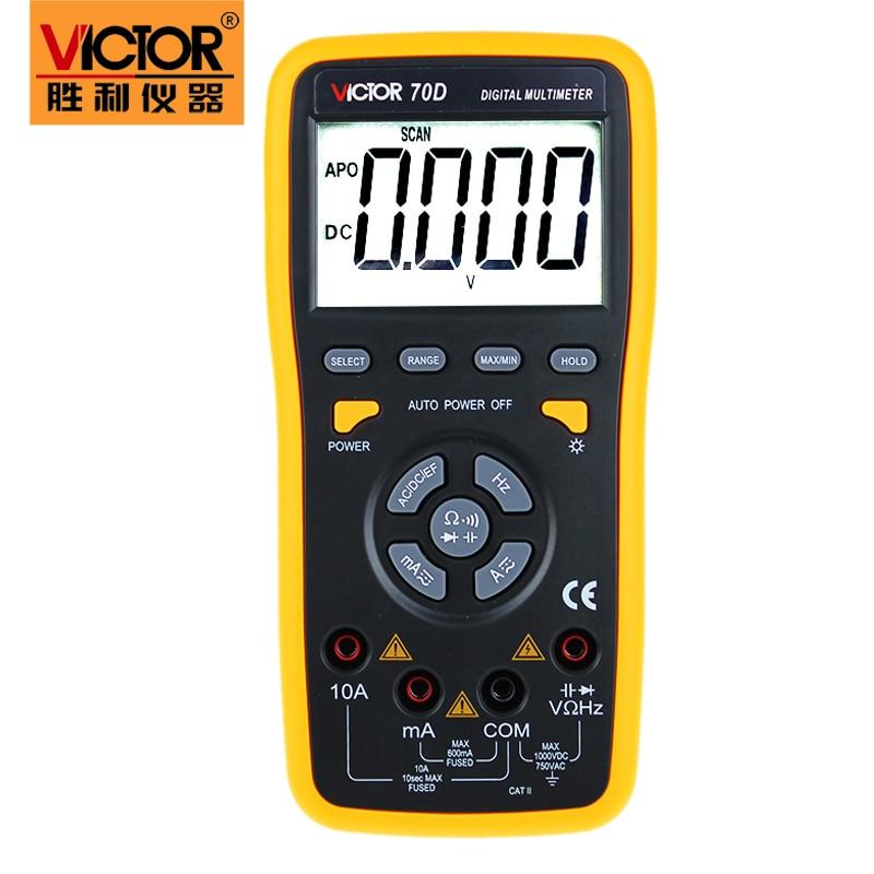Llegada rápida multímetro Digital VICTOR 70D Rango automático multímetro digital inteligente con interfaz USB