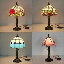 Lámpara de mesa de noche Vintage turca para estudio de dormitorio accesorios de sala de estar mosaico vitral barroco Luz de escritorio con enchufe