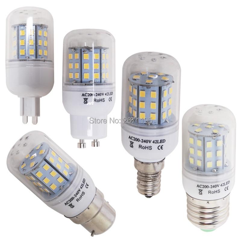 E27 e14 e12 b22 led milho bulbo 5730 smd luz 2835 smd 220 v vela e14 lâmpada led branco frio morno gu10 g9
