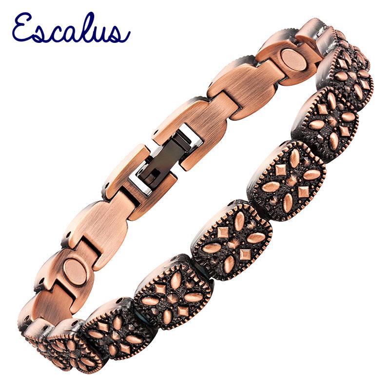 Escalus 2018 Plant Flowers Antique Copper Bracelet For Women Magnetic Gift Jewelry Charm Bracelet Women's Wearing Wristband