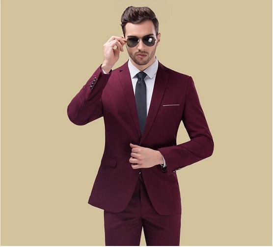 New Arrival Red Carpet Men Suits 2017 Popular Burgundy Groomsmen Wedding Tuxedos Men's Party /Prom Suits (Jacket+Pants+Tie)