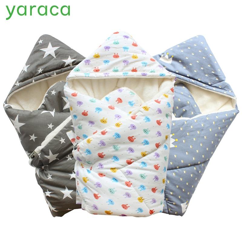 Baby Swaddle 90x90cm Baby Blanket Thick Warm Berber Fleece Envelopes For Newborns Infant Wrap Baby Bedding Sleeping