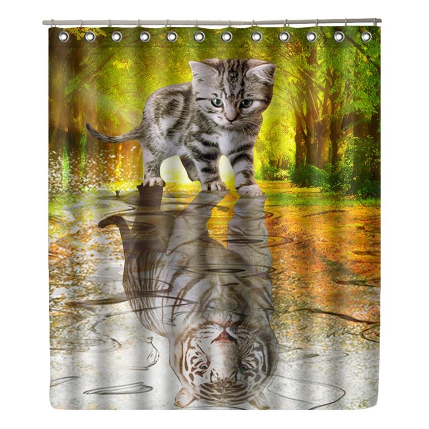 Cat Reflex Tiger Shower Curtain Waterproof Bathroom Bear Curtain Modern Animal Bath Curtain with 12 Hooks Home Decor Gift