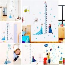 Stickers muraux de dessin animé Elsa Anna   Mesure de la hauteur, décoration intérieure, salon, disney, tableau de la croissance des neiges, stickers muraux, art mural