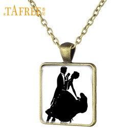 Tafree clássico valsa dançarino preto branco silhueta pingente colar masculino e feminino dançarinos dança festa jewlery presente ds41
