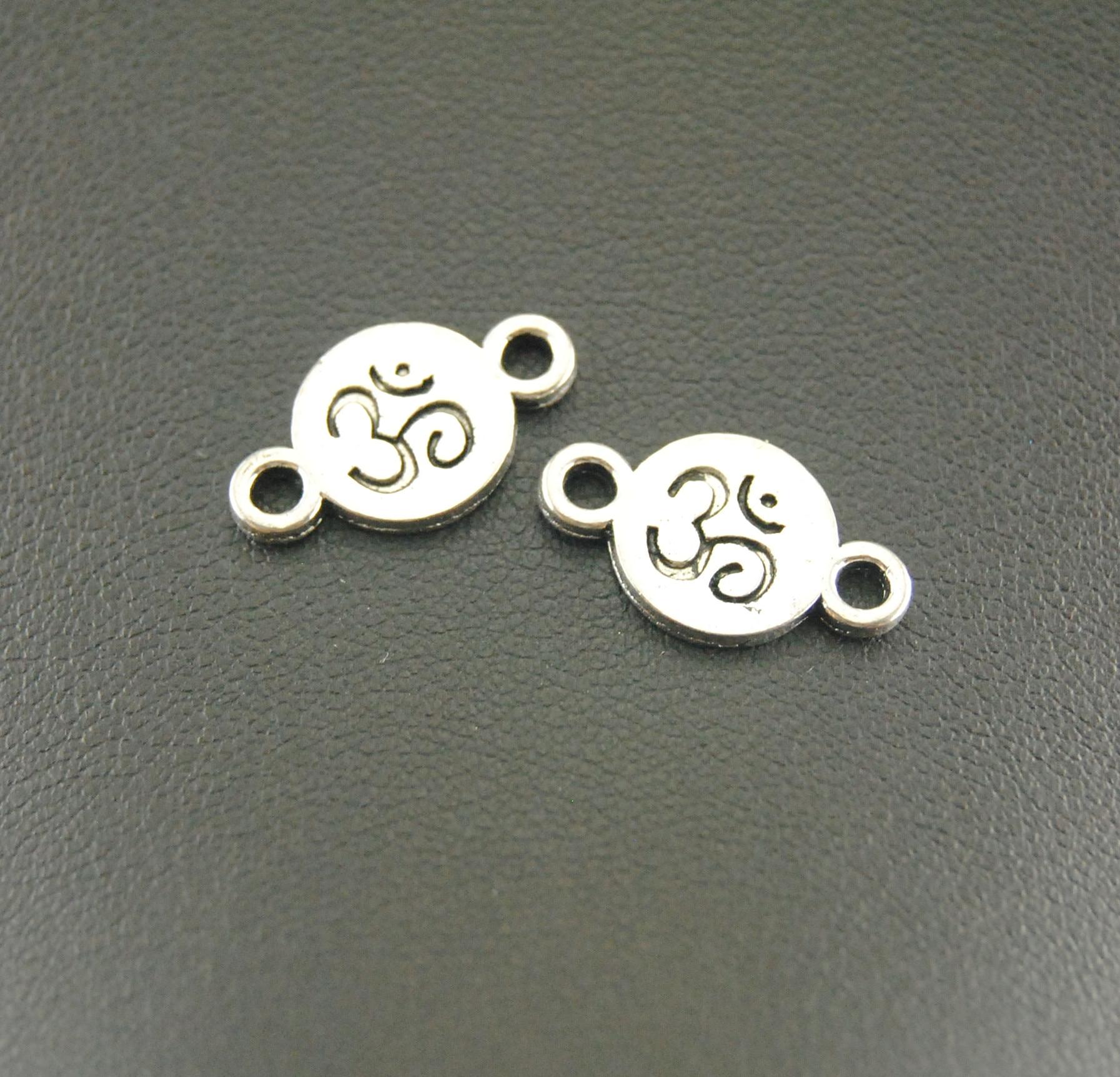20 colgantes de plata OM Aum Ohm Mantra Sign Disc con abalorios hechos a mano, accesorios de joyería A910