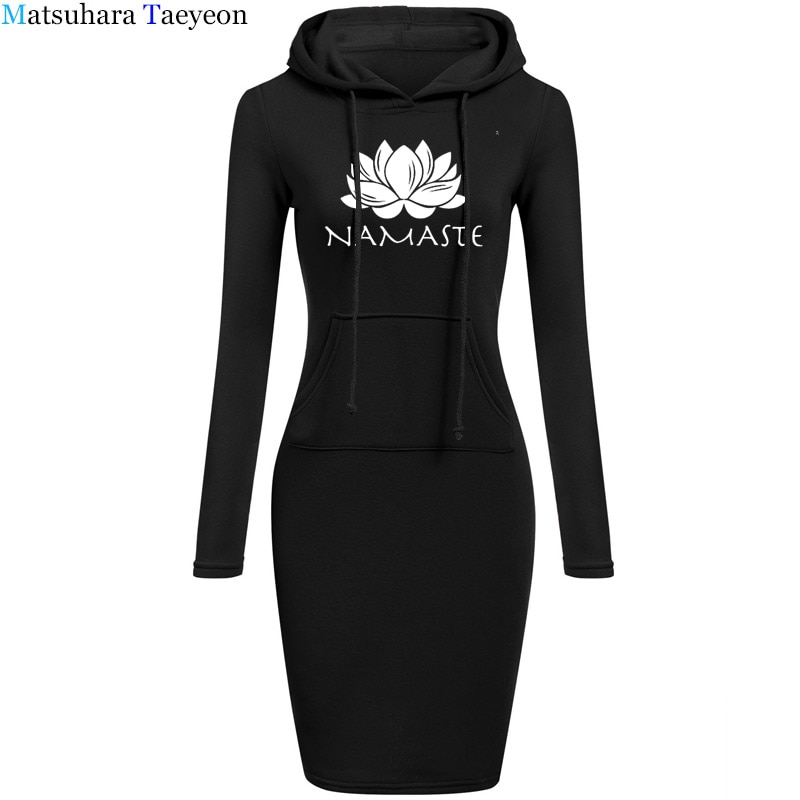 Namaste 2018 moda cordón largo mangas fleece mujeres Vestidos invierno mujeres Vestidos vestido