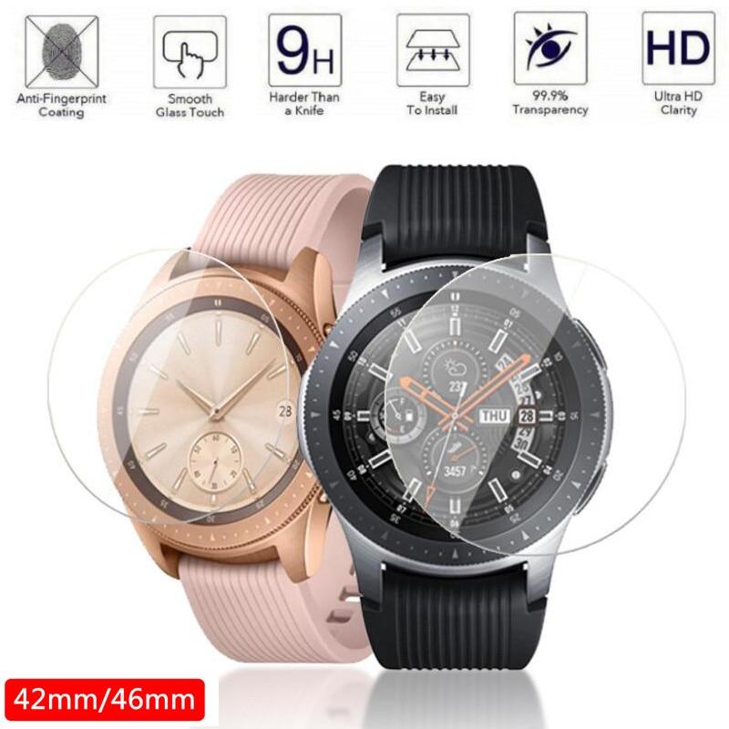 Protecteur d'écran en verre trempé pour Samsung Galaxy Watch, 2 pièces, 46mm 42mm, Film de protection Anti-Explosion, bracelet de montre