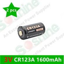 2 pcs original Soshine CR123A 3.0V 1600mah Primary Lithium  Battery rechargeable li-ion batteries