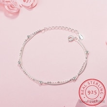 Bracelet Simple mode 925 en argent Sterling pour femmes perles Double chaîne pulseira Bracelets Bracelets cadeau S-B127