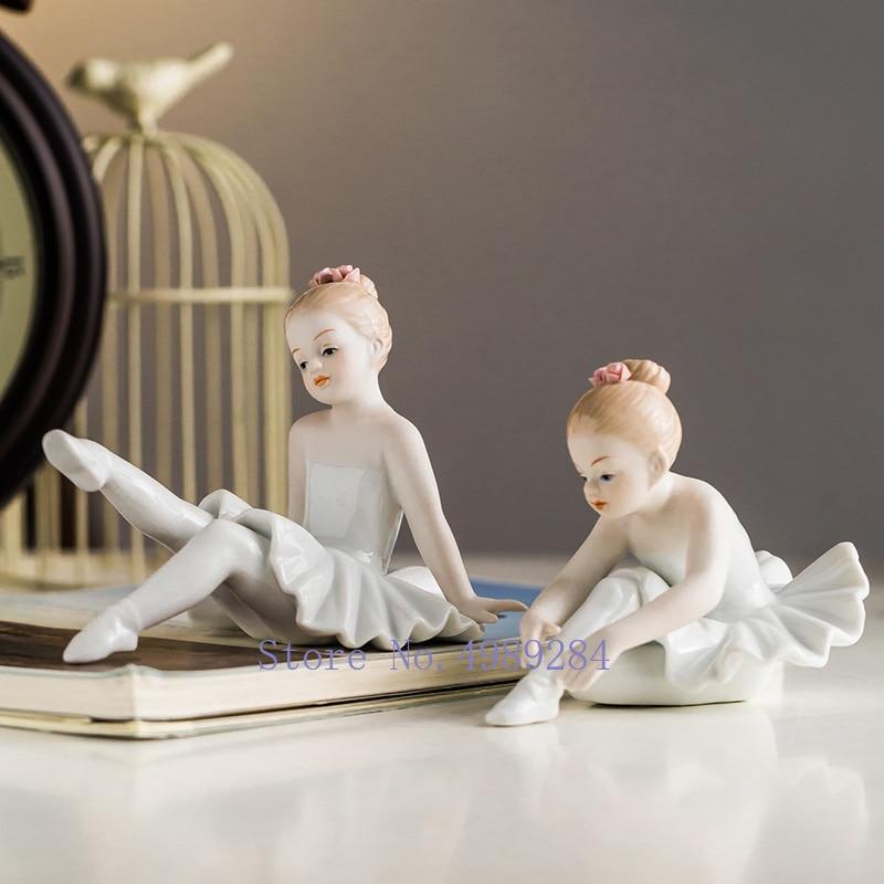 Creativo Ballet chica cerámica adornos moderno hogar niños habitación Decoración Accesorios personaje escultura regalo