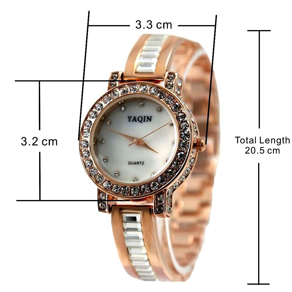 Ladies Analog Quartz Round Wrist Watch Japan PC21J Movement Rose Gold Metal Band White Dial enlarge