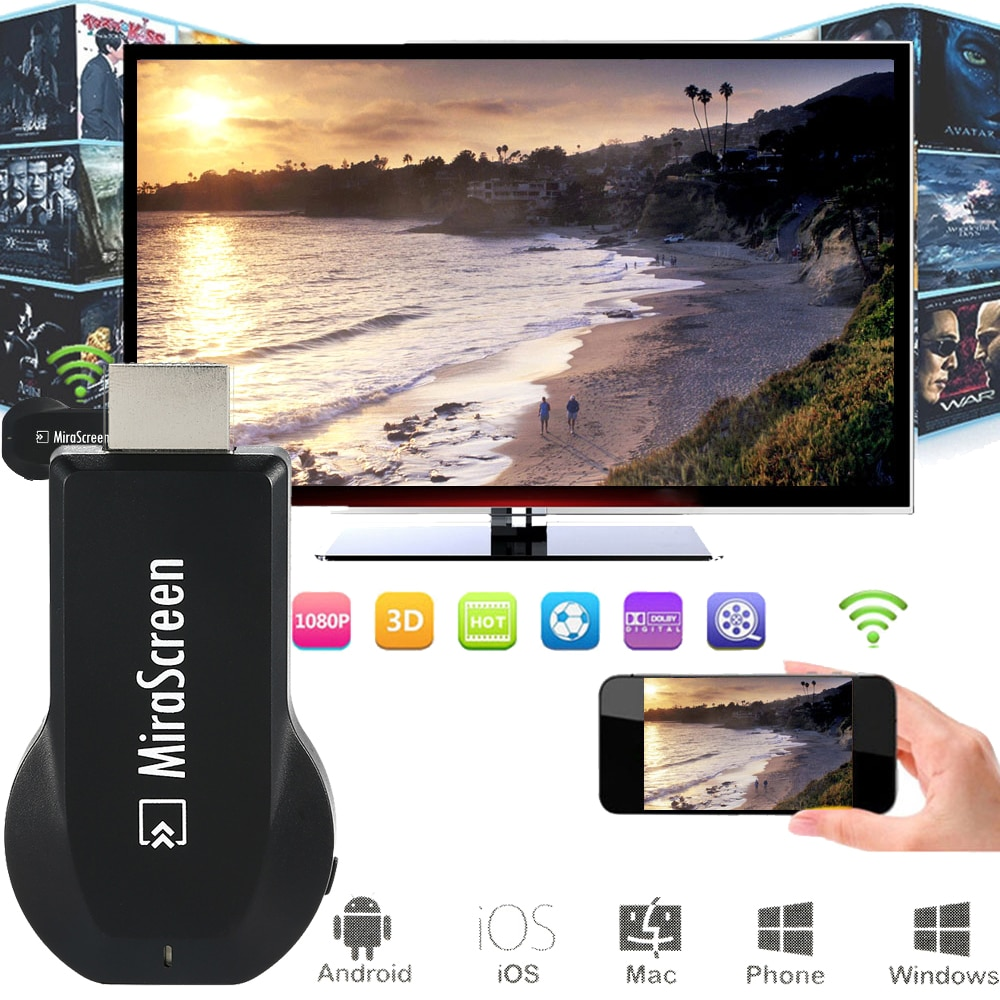 MiraScreen TV Stick Android dongle de TV inteligente EasyCast receptor inalámbrico DLNA AirPlay Miracast Airmirroring Chromecast Mini Stick