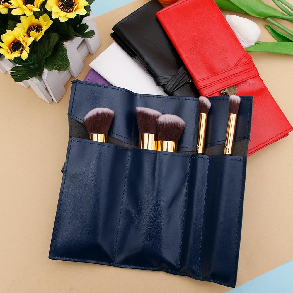 Women Makeup Brushes Bag Vintage Cosmetic Bag Twilight Kit Pens PU Leather Travel Make Up Bag Toiletry Organizer Holder