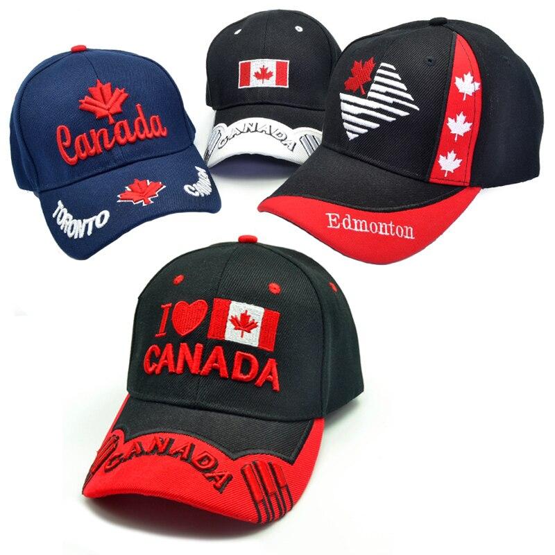 Новая мужская шапка Канада 3D Вышивка Канада кленовый лист бейсболки хлопковые Регулируемая Кепка с козырьком, модные шапки Повседневные Го...