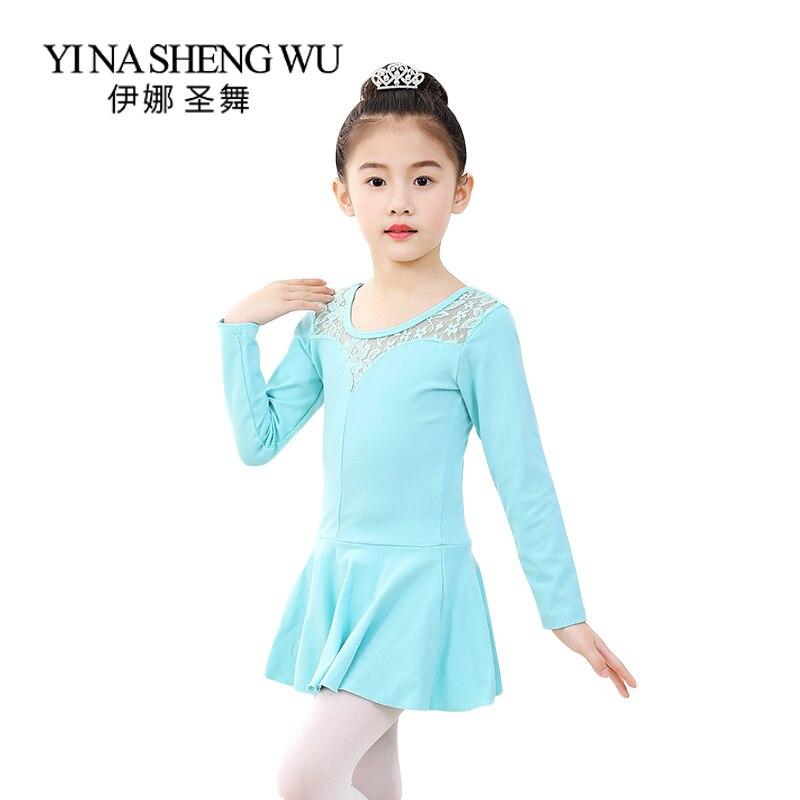 Niños Ballet ropa de entrenamiento de danza de algodón de manga larga encaje costura danza falda chica actuación baile de Ballet vestido 1 ud.