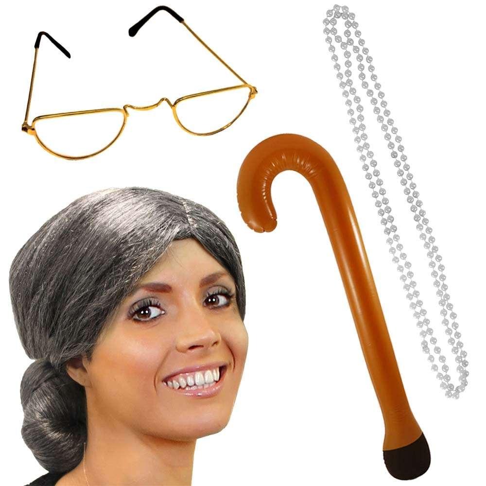 GRANNY OLD LADY OLD MAN mujer abuela gafas tubo rizado gris peluca perlas bastón vestido conjunto rápido envío
