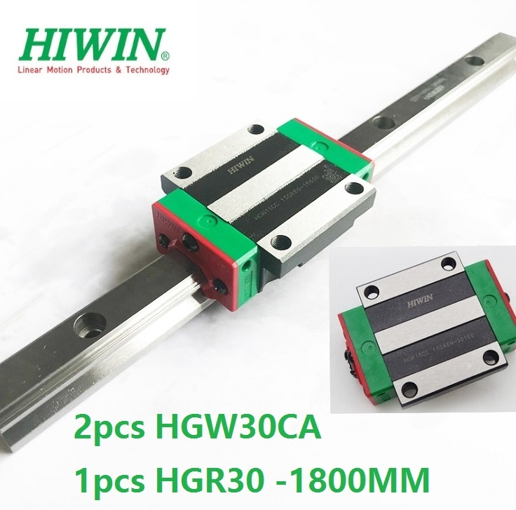 1 قطعة 100% الأصلي Hiwin الخطي دليل السكك الحديدية HGR30 -L 1800 مللي متر + 2 قطعة HGW30CA HGW30CC شفة كتلة النقل ل cnc راوتر