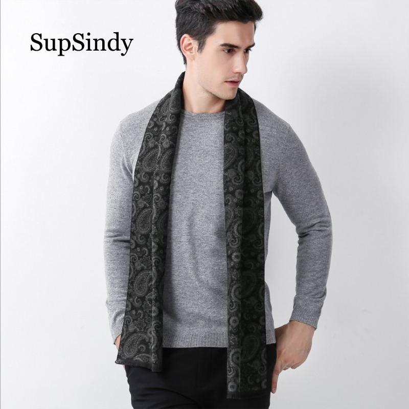 SupSindy Winter scarf men Vintage Soft Paisley Design gray scarves luxury shawl Warm wrap cashmere wool Acrylic Casual men scarf