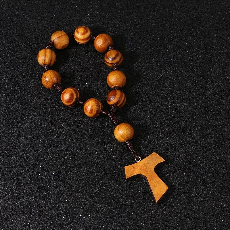KOMi Komi, cuentas de madera de 16mm, brazalete de Rosario de oración, cuentas de 11 uds, pulseras hechas a mano, joyería religiosa R-219
