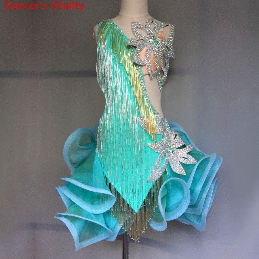 Vestido de competición para baile latino de diamante hecho a mano de lujo, moda Sexy 2018 para mujeres y chicas, ropa de salón latino, Ropa de baile de actuación