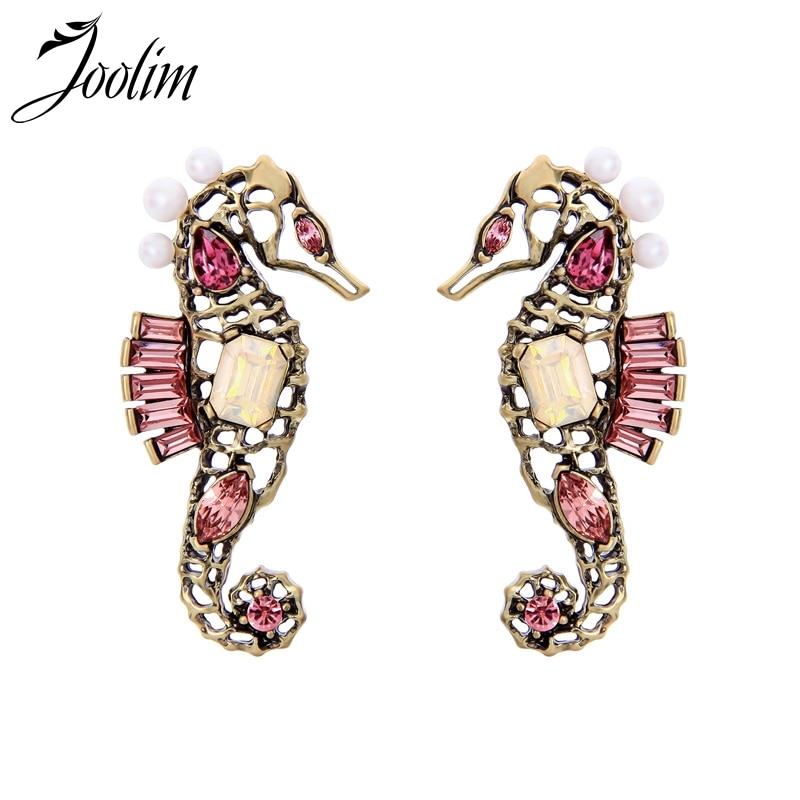 Joolim, pendiente rosa de cristal con perlas de caballito de mar, pendiente de Piercing bonito