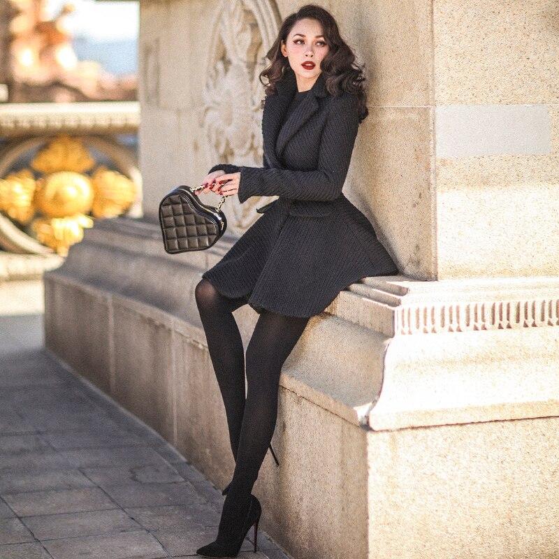 40-mujeres vintage elegante 50 pinup lana larga swing abrigo negro de talla grande chaqueta de abrigo mujer mont kaban
