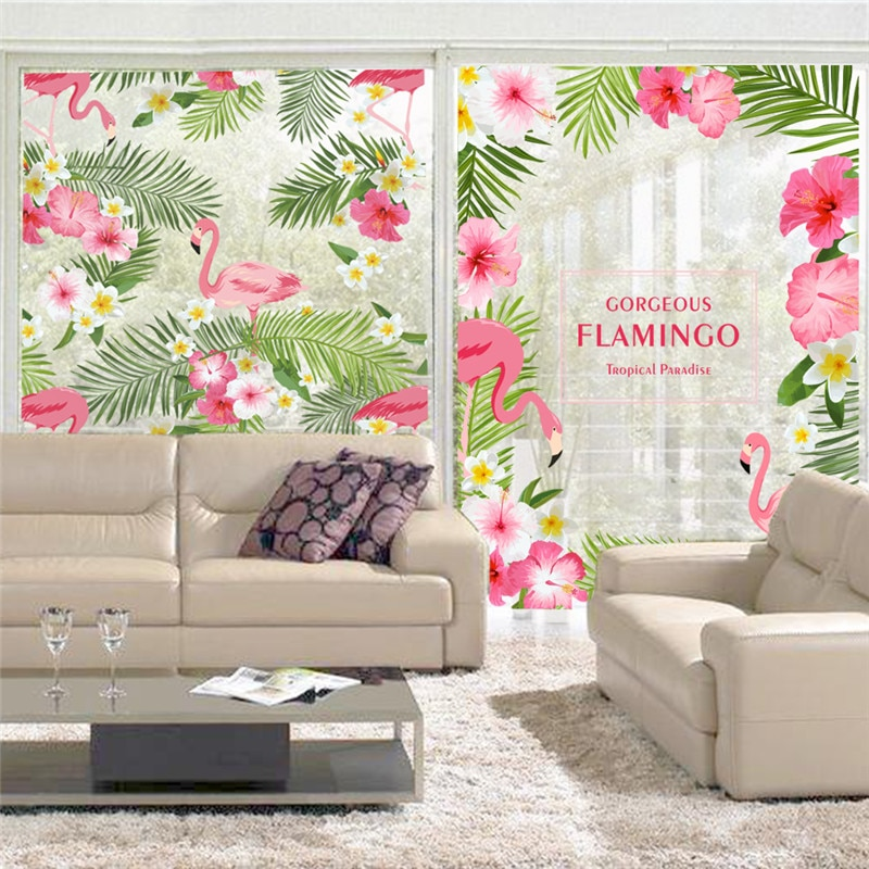Mural de flores con flamencos para ventana, decoración de pared de salón y dormitorio, póster artístico para decoración de hogar, boda, % romántico