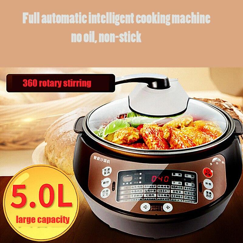 5L máquina de cocina automática, sartén eléctrica, Robot inteligente de cocina múltiple, cocina Wok antiadherente, sartén, agitador giratorio 360