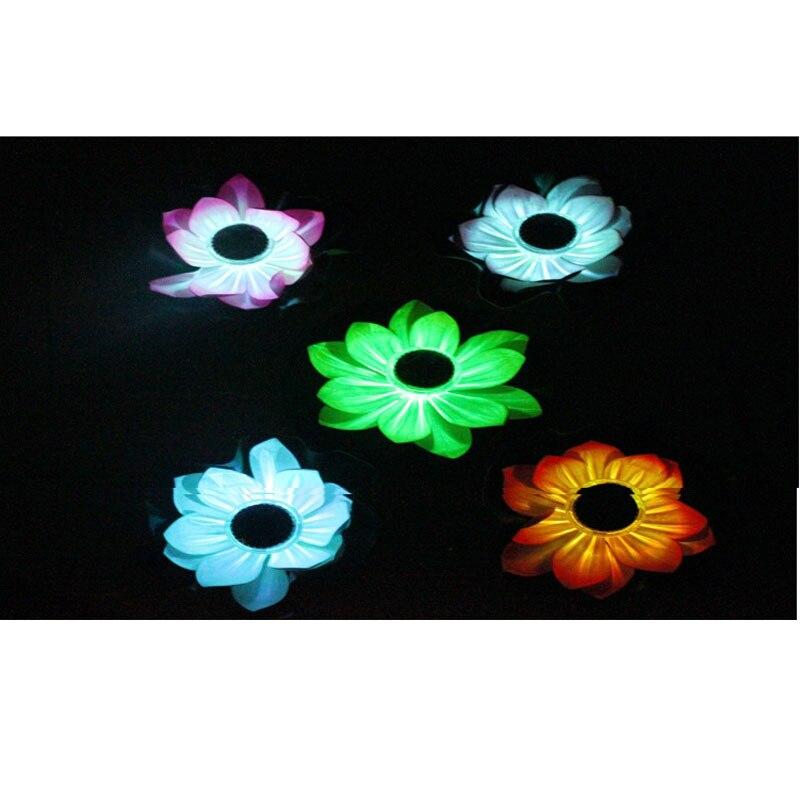 Floating Lotus Solar Power Night Light LED Energy Saving Flower Lamp For Garden Pool Pond Fountain Decoration GQ999