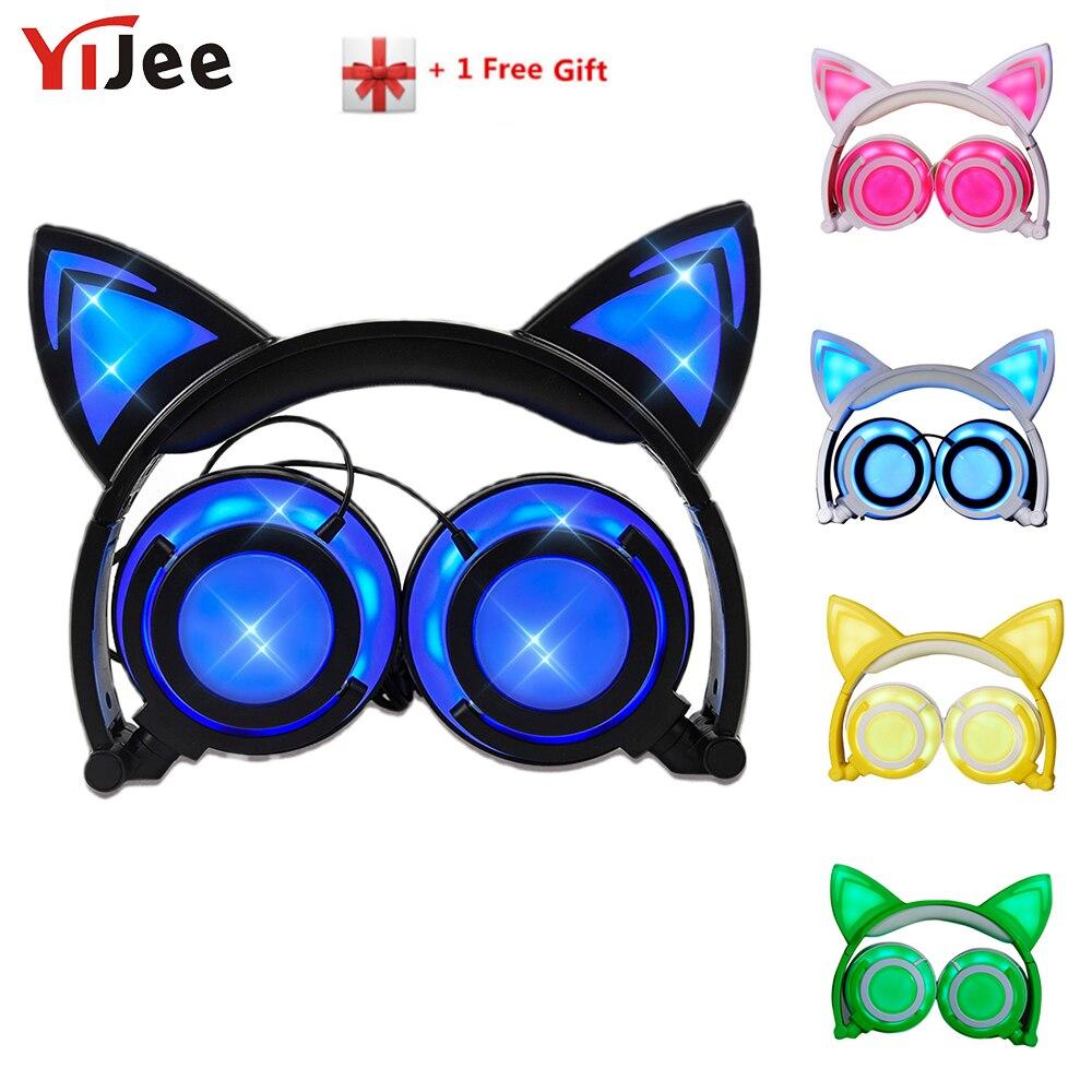 YiJee plegable Oreja de Gato auriculares con luz intermitente LED Gaming Headset brillante estéreo de auriculares con diseño de gato de teléfono móvil de la PC