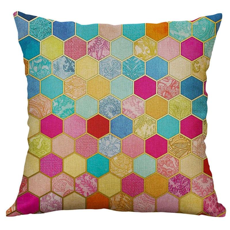 Funda de almohada Ouneed de mezcla de lino de 45x45 cm, funda de almohada de moda para el hogar, funda de algodón Natural DIY en Zigzag naranja 19FEB21
