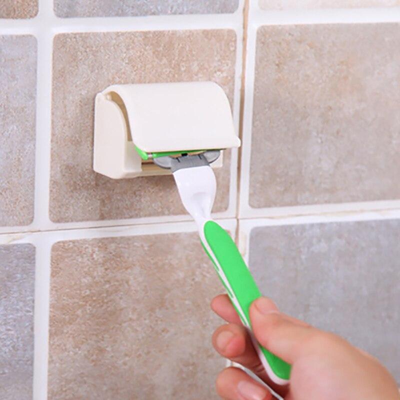 1 ud. Estante de afeitar autoadhesivo a prueba de polvo, caja de soporte para maquinilla de afeitar, tapa de afeitar montada en la pared para accesorios de baño