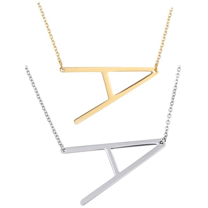 Collar Peiwen de acero inoxidable con A-Z inicial con 26 letras del alfabeto, collar DIY con cadena de Color dorado y plateado, collar de Colgante para Nombre, joyería de moda