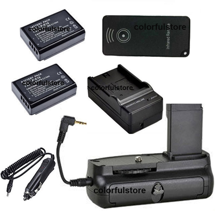 Punho de bateria Vertical Do Obturador Para Canon EOS 1200D 1100D Rebel T5 T3 Beijo X70 X50 Camera + IR Remote + 2 x LP-E10 + Carregador de Carro