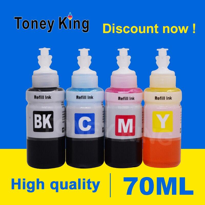 Toney rey impresora de Tinta botella de 70ml Tinta Kits de recarga para Epson expresión ET-2550 ET-2600 ET-2650 ET-3600 impresora T664 T6641