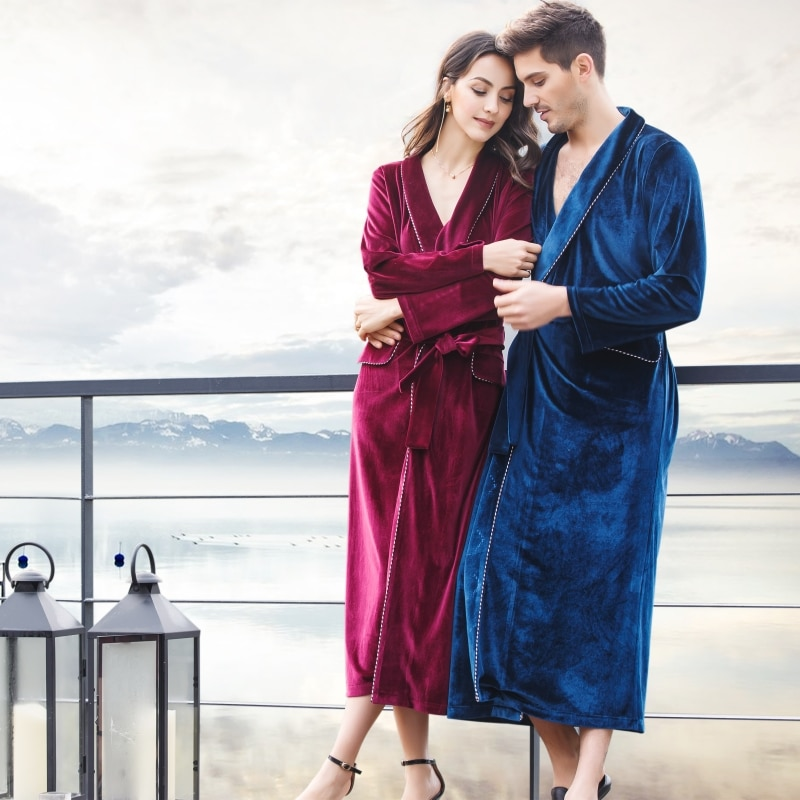 Men and Women Spring and Autumn Luxury Velvet Classic Shawl Collar Chest Suit Medium-Long Robe Nightgown Sleepwear Gown