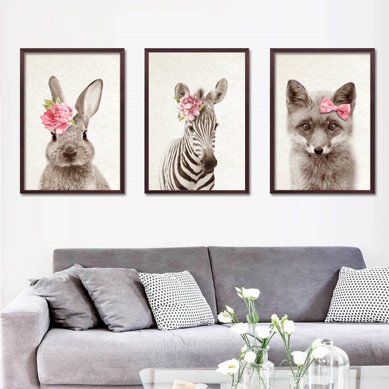 Kawaii животные с красными цветами кролик художественные принты плакат для детской стены картина холст живопись Детская комната Декор HD2925